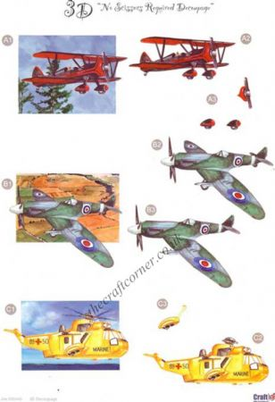 Aeroplanes Die Cut 3d Decoupage Sheet